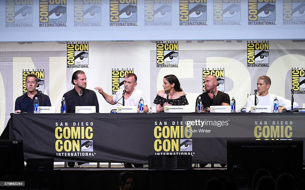 Executive producers Vaun Wilmott, Michael Horowitz, actors Robert Knepper, Sarah Wayne Callies, Dominic Purcell and Wentworth Miller attend the Fox Action Showcase: 'Prison Break' And '24: Legacy' during Comic-Con International 2016 at San Diego Convention Center on July 24, 2016 in San Diego, California.