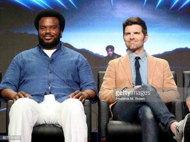 Executive producers/actors Craig Robinson and Adam Scott of 'Ghosted' speak onstage during the FOX portion of the 2017 Summer Television Critics...