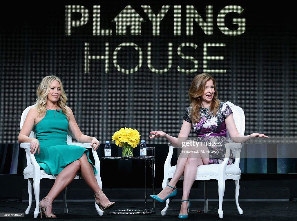 Executive producers/actors Jessica St. Clair and Lennon Parham speak onstage during the USA Networks' 'Playing House' panel discussion at the NBCUniversal portion of the 2015 Summer TCA Tour at The Beverly Hilton Hotel on August 12, 2015 in Beverly Hills, California.