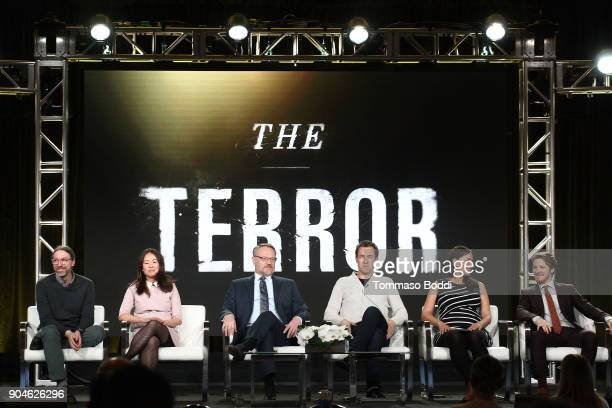 Executive producers/coshowrunners David Kajganich and Soo Hugh actors Jared Harris Tobias Menzies Nive Nielsen and Adam Nagaitis of the television...