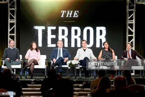 Executive producers/CoShowrunners David Kajganich and Soo Hugh and actors Jared Harris Tobias Menzies Nive Nielsen and Adam Nagatis of 'The Terror'...
