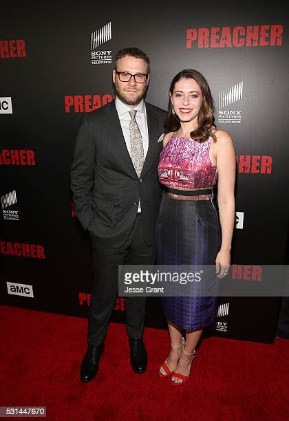 Executive producer��Seth Rogen and wife Lauren Miller attend the Los Angeles Premiere of AMC's 'Preacher' on May 14 2016 in Los Angeles California