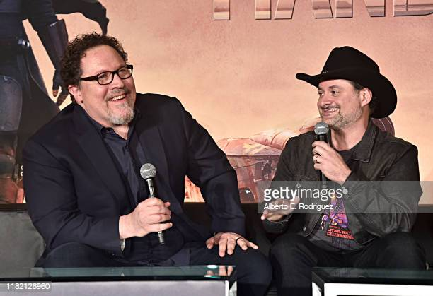 """Executive producers/writers Jon Favreau and Dave Filoni of Lucasfilm's """"The Mandalorian"""" at the Disney+ Global Press Day on October 19, 2019 in Los..."""