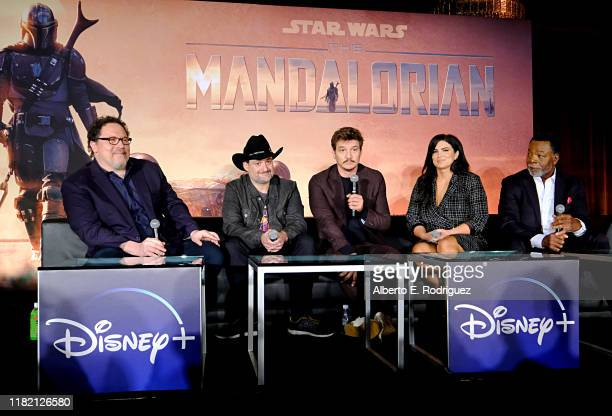 Executive producers/writers Jon Favreau Dave Filoni actors Pedro Pascal Gina Carano and Carl Weathers of Lucasfilm's The Mandalorian at the Disney...