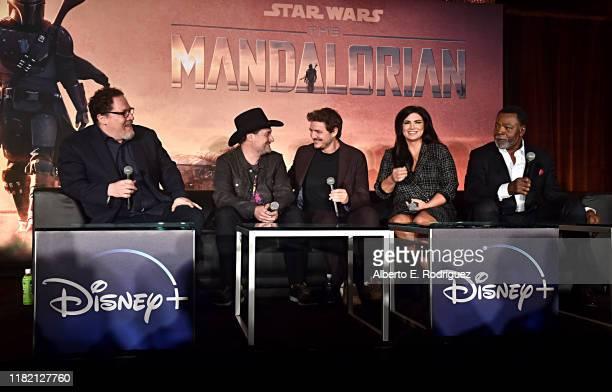 "Executive producers/writers Jon Favreau, Dave Filoni, actors Pedro Pascal, Gina Carano and Carl Weathers of Lucasfilm's ""The Mandalorian"" at the..."