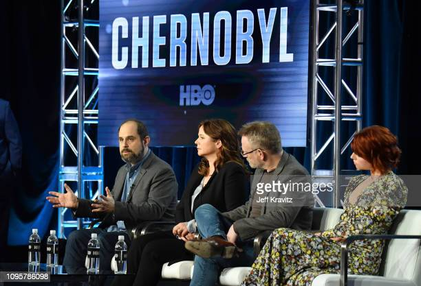 Executive producer/writer Craig Mazin actorsÊEmily Watson Jared Harris and Jessie BuckleyÊparticipate in the Chernobyl panel during the HBO portion...