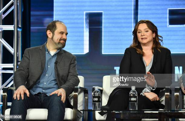 Executive producer/writer Craig Mazin and actress Emily Watson speak onstage during the Chernobyl panel of the HBO portion of the 2019 Winter TCA on...