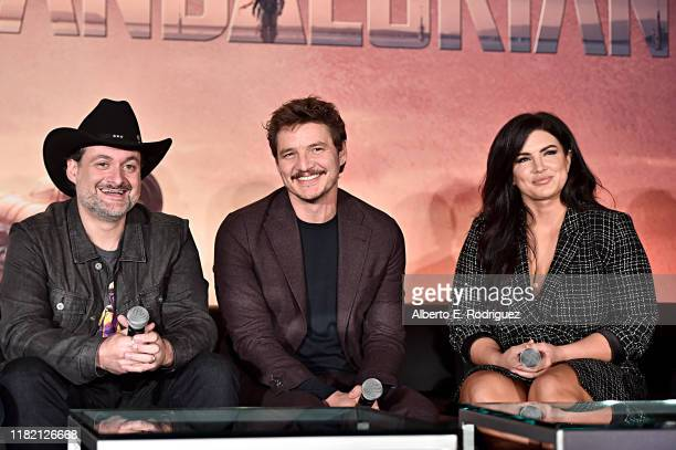 Executive producer/writer Dave Filoni actors Pedro Pascal and Gina Carano of Lucasfilm's The Mandalorian at the Disney Global Press Day on October 19...
