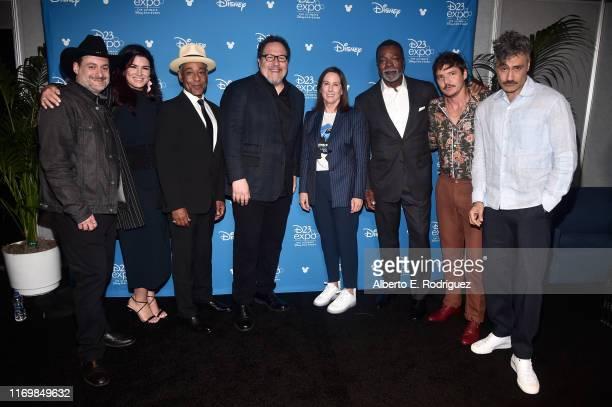 Executive producer/writer Dave Filoni Gina Carano Giancarlo Esposito Executive producer/writer Jon Favreau Lucasfilm president Kathleen Kennedy Carl...