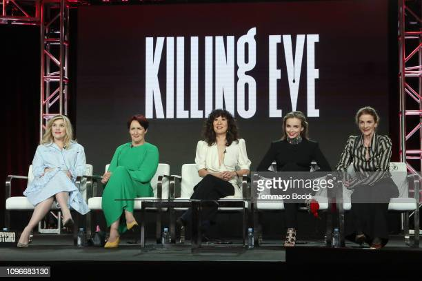 Executive producer/writer Emerald Fennel actors Fiona Shaw Sandra Oh and Jodie Comer and executive producer Sally Woodward Gentle speak onstage...