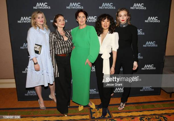 "Executive producer/writer Emerald Fennel, executive producer Sally Woodward Gentle, actors Fiona Shaw, Sandra Oh and Jodie Comer attend the ""Killing..."
