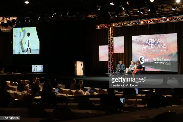 Executive producer/writer Henry Louis Gates Jr journalist Charlayne HunterGault and civil rights icon Ruby Bridges speak onstage during 'The African...