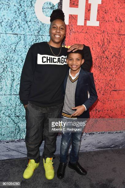 Executive producer/writer Lena Waithe and actor Lonnie Chavis attend the premiere of Showtime's 'The Chi' at The Downtown Independent on January 3...