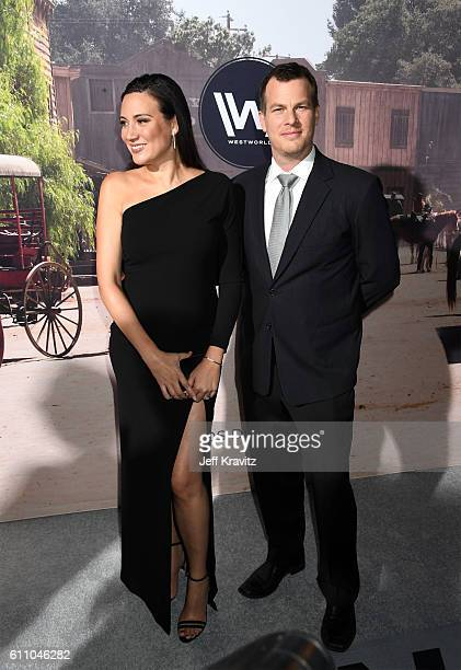 Executive producer/writer Lisa Joy and Executive producer/writer/director Jonathan Nolan attend the premiere of HBO's Westworld at TCL Chinese...