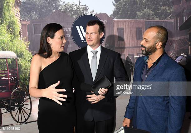 Executive producer/writer Lisa Joy executive producer/writer/director Jonathan Nolan and actor Jeffrey Wright attend the premiere of HBO's Westworld...