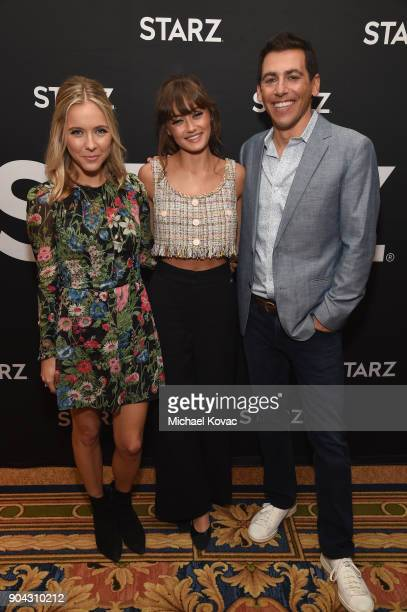 Executive producer/writer Stephanie Danler actor Ella Purnell and executive producer Stu Zicherman at the STARZ Winter TCA on January 12 2018 in...
