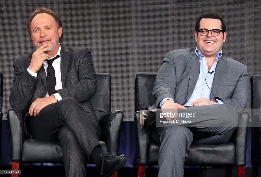 Executive producer/writer/actor Billy Crystal (L) and Co-Executive producer/actor Josh Gad speaks onstage during the 'The Comedians' panel discussion at the FX Networks portion of the Television Critics Association press tour at Langham Hotel on January 18, 2015 in Pasadena, California.