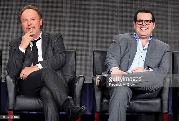 Executive producer/writer/actor Billy Crystal and CoExecutive producer/actor Josh Gad speaks onstage during the 'The Comedians' panel discussion at...