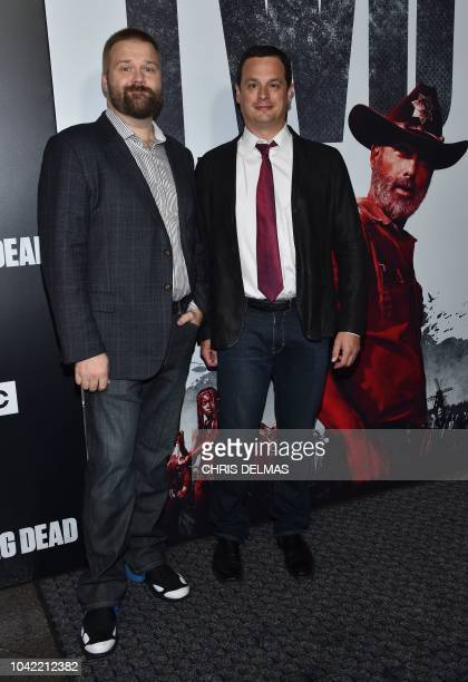 Executive producer/writer/cocreator Robert Kirkman and executive producer David Alpert attend the premiere of AMC's 'The Walking Dead' Season 9 at...