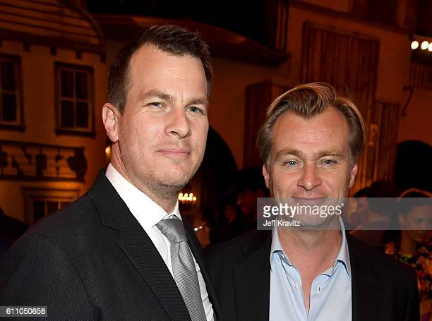 Executive producer/writer/director Jonathan Nolan and director Christopher Nolan attend the premiere of HBO's Westworld after party at The Hollywood...