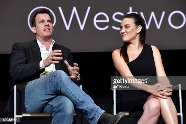 Executive producer/writer/director Jonathan Nolan and executive producer/writer Lisa Joy speak onstage during HBO's 'Westworld' FYC panel at the...