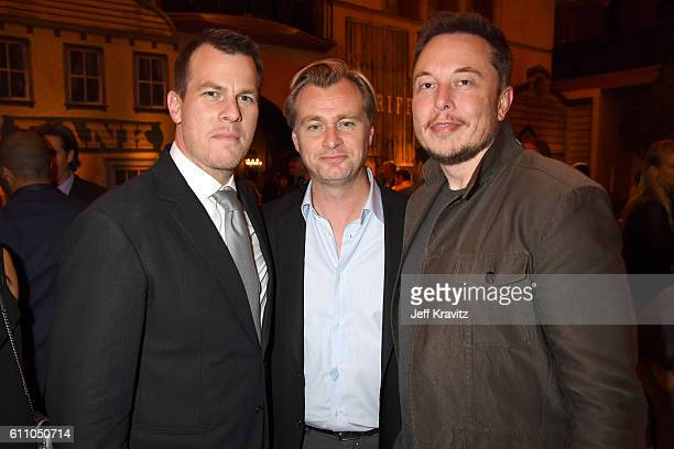 Executive producer/writer/director Jonathan Nolan director Christopher Nolan and Elon Musk attend the premiere of HBO's Westworld after party at The...