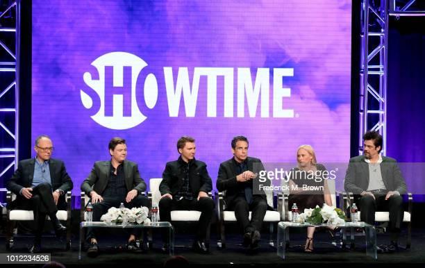Executive producer/writers Michael Tolkin, Brett Johnson, actor Paul Dano, executive producer/director Ben Stiller, actors Patricia Arquette, and...