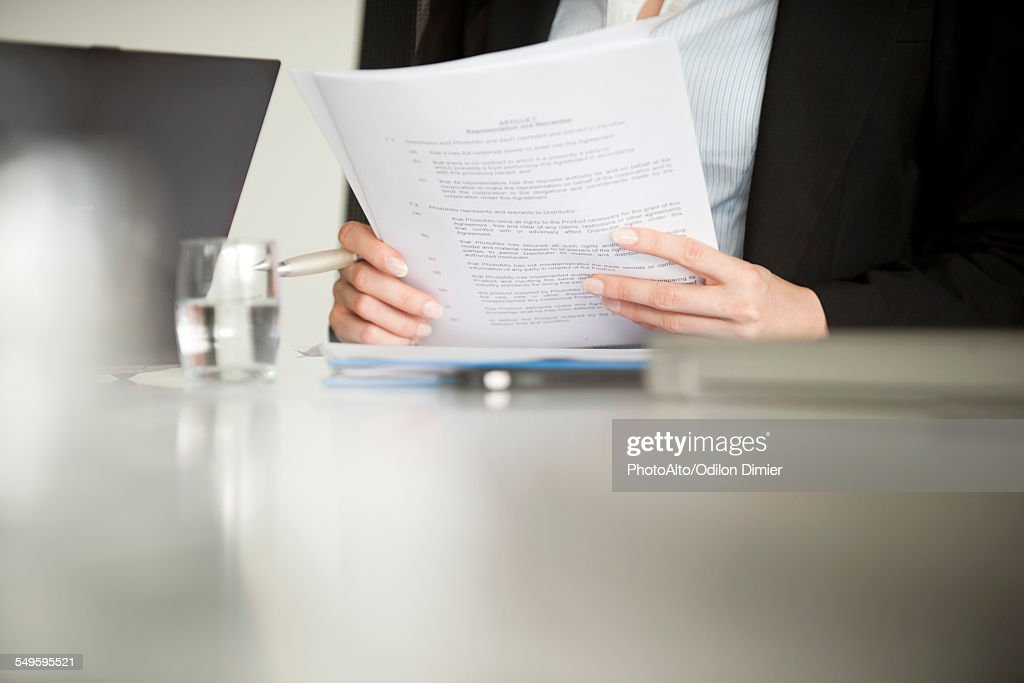 Executive reviewing document, cropped : Stock Photo