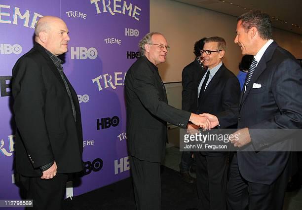"Executive Richard Butler greets executive producer Eric Overmyer with HBO executive Michael Lombardo and creator David Simon at the ""Treme"" New York..."