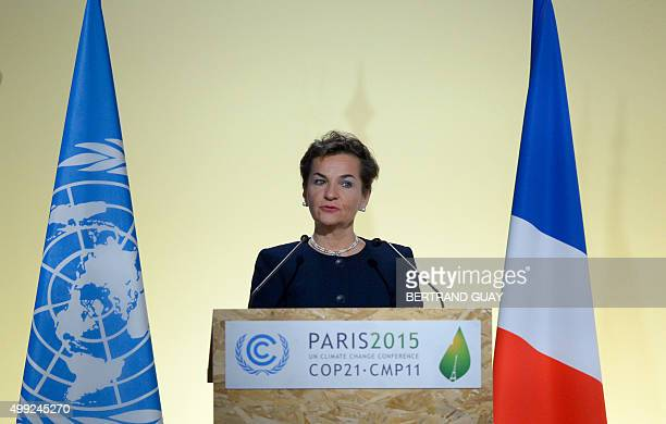 Executive Secretary of the UN Framework Convention on Climate Change Christiana Figueres delivers a speech during the opening of the 21st session of...