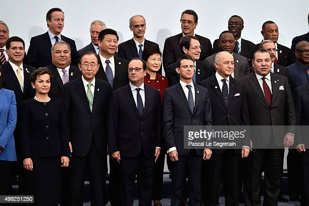 Executive Secretary of the United Nations Christiana Figueres UN General secretary Banki Moon French President Francois Hollande French Prime Minster...