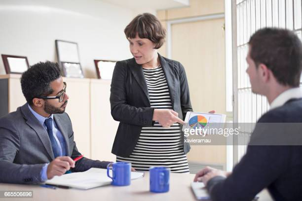 Executive showing chart on tablet PC to coworkers