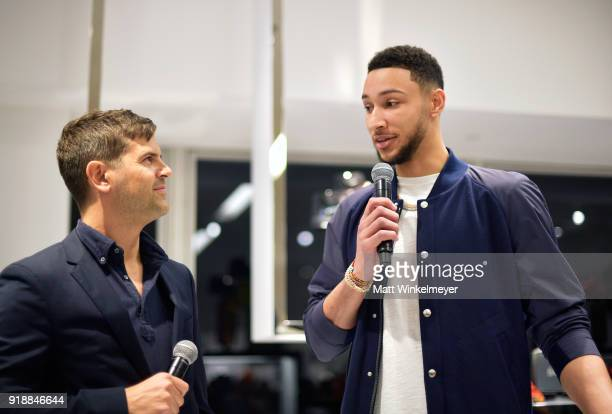 Executive Stylist Brett Fahlgren and NBA player Ben Simmons speak during the Neiman Marcus x GQ All Star Weekend Event with Ben Simmons at Neiman...