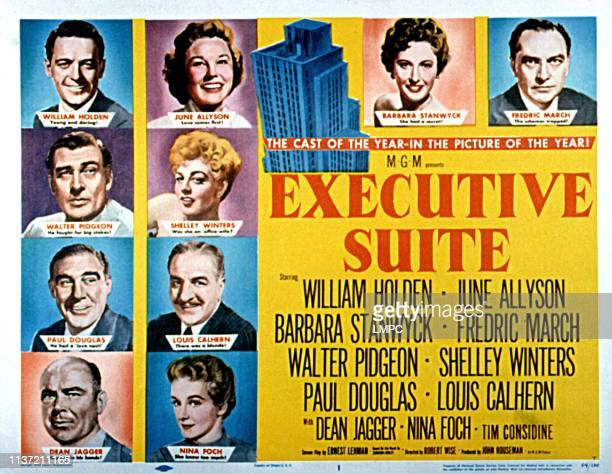 Executive Suite lobbycard William Holden June Allyson Barbara Stanwyck Fredric March Walter Pidgeon Shelley Winters Paul Douglas Louis Calhern Dean...