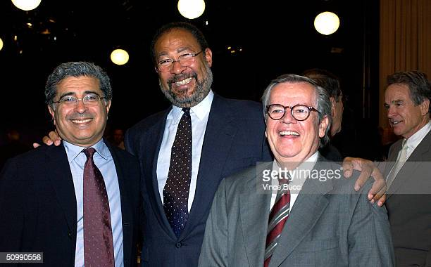 Executive Terry Semel Richard D Parsons Chairman and CEO of Time Warner Inc and entertainment industry executve Robert A Daly attend a luncheon...