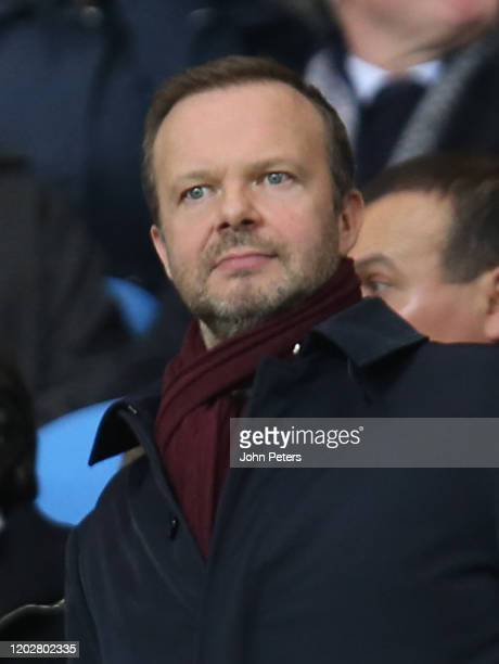 Executive Vice Chairman Ed Woodward of Manchester United watches from the directors box during the Carabao Cup Semi Final match between Manchester...