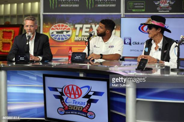 NASCAR Executive Vice President and Chief Global Sales and Marketing Officer Steve Phelps NASCAR driver Darrell Wallace Jr and team owner Richard...