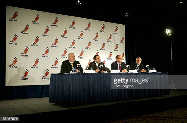 NHL Executive Vice President and Chief Legal Officer Bill Daly NHL Commissioner Gary Bettman NHLPA Executive Director Bob Goodenow and NHLPA Vice...