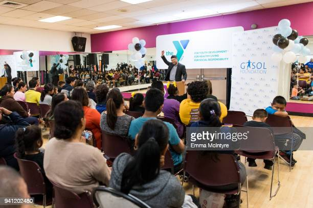 Executive Vice President and Chief Mission Advancement Officer YMCA of Metropolitan Los Angeles Victor Dominguez attends a family event with Pau...