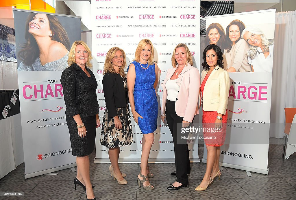 Executive Vice President and Chief Operating Officer of Shionogi Inc Deanne Melloy, Dr. Margaret Nachtigall, comedian Ali Wentworth, Dr. Donnica Moore and Dr. Shannon Chavez attend Comedian Ali Wentworth Teams Up with Shionogi Inc. to Launch 'Women Take Charge' Campaign at Robert Restaurant on July 29, 2014 in New York City.