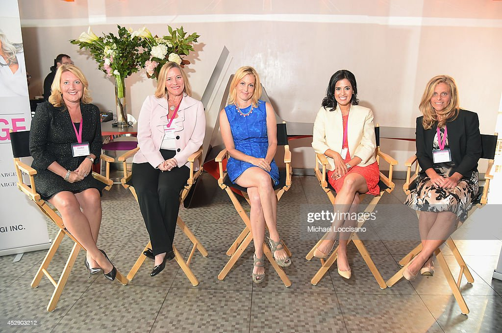 Executive Vice President and Chief Operating Officer of Shionogi Inc Deanne Melloy, Dr. Donnica Moore, comedian Ali Wentworth, Dr. Shannon Chavez and Dr. Margaret Nachtigall attend Comedian Ali Wentworth Teams Up with Shionogi Inc. to Launch 'Women Take Charge' Campaign at Robert Restaurant on July 29, 2014 in New York City.