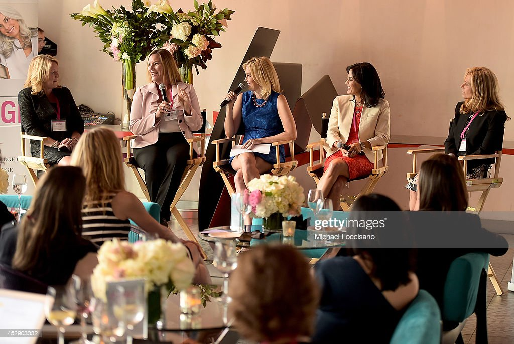 Executive Vice President and Chief Operating Officer of Shionogi Inc Deanne Melloy, Dr. Donnica Moore, comedian Ali Wentworth, Dr. Shannon Chavez and Dr. Margaret Nachtigall speak onstage at Comedian Ali Wentworth Teams Up with Shionogi Inc. to Launch 'Women Take Charge' Campaign at Robert Restaurant on July 29, 2014 in New York City.