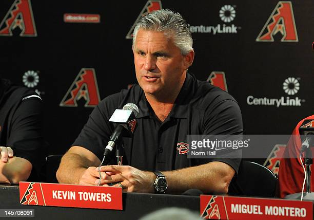 Executive Vice President and General Manager Kevin Towers of the Arizona Diamondbacks talks to the press about Miguel Montero's new contract prior to...
