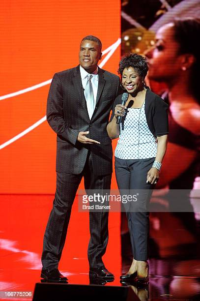 Executive Vice President and General Manager of Centric Paxton K Baker and recording artist Gladys Knight speak onstage at the BET Networks 2013 New...