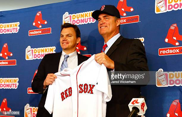 Executive Vice President and General Manager of the Boston Red Sox Ben Cherington introduces John Farrell as the new manager the 46th manager in the...