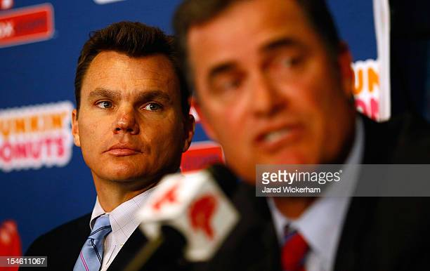 Executive Vice President and General Manager of the Boston Red Sox Ben Cherington listens after introducing John Farrell as the new manager the 46th...