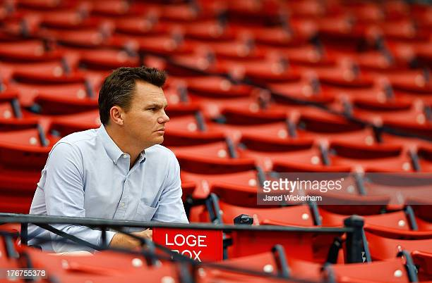 Executive Vice President and General Manager of the Boston Red Sox Ben Cherington watches batting practice prior to the game between the Boston Red...