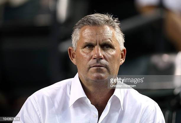 Executive Vice President General Manager Kevin Towers of the Arizona Diamondbacks attends the Major League Baseball game against the Colorado Rockies...