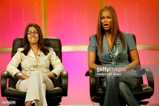 Executive Vice President & General Manager of Telepictures Productions Hilary Estey McLoughlin and model/talk show host Tyra Banks attend the panel...