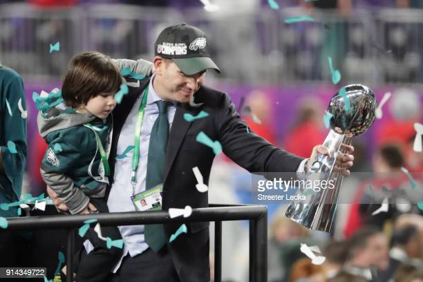 Executive Vice President Howie Roseman of the Philadelphia Eagles celebrates his teams 4133 victory over the New England Patriots in Super Bowl LII...